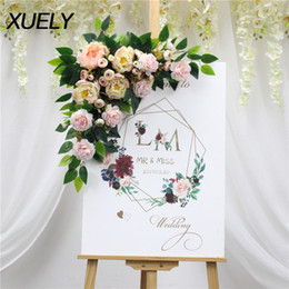 white rose card wedding Australia - Multi-style creative Artificial flower rose green leaf welcome card home door wall decor fake garland wedding road lead decor