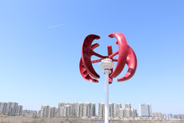 Chinese  vertical wind turbine 100w 12v 24v 5 blades 1.3m start up,red abd red color for choose manufacturers