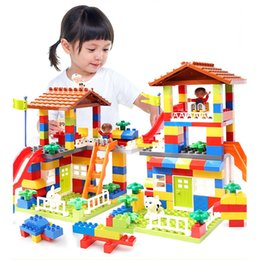 $enCountryForm.capitalKeyWord Australia - 89pcs Diy Colorful City House Roof Big Particle Building Blocks Castle Educational Toy For Children Compatible Slide Gift MX190730