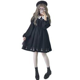 $enCountryForm.capitalKeyWord NZ - Fashion Women Black Peter Pan Collar Dress Female Gothic Tulle Dress Lolita Short Mini Dresses