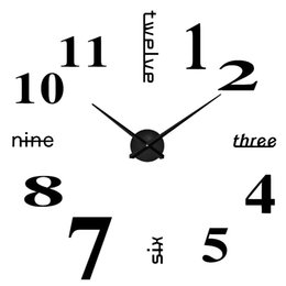 $enCountryForm.capitalKeyWord Australia - Large DIY Frameless Wall Clock Modern Mute 3D Wall Clock Mirror Stickers Home Office Decorations Gift Black