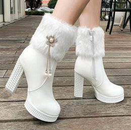 faux fur booties women NZ - plus size 34 to 43 chic platform chunky heels white fur boots platform high heels ankle booties luxury women designer boots