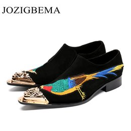 new bird shoes 2019 - New Black Genuine Leather Little Bird Totem Men Shoes Height Increasing Wedding Party Dress Shoes Business Men Brogue ch