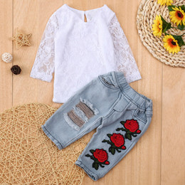 Cute outfits for spring online shopping - Newborn Infant Baby Girls Clothes Set Lace Flower Tops Shirt Pants Outfits Sets Winter clothes for children kids clothing