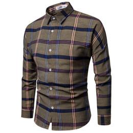 Brown Dress Shirts For Mens UK - 2019 Fashion Brand Shirt For Men Classic Plaid Shirt Casual Mens Shirts Long Sleeve Social Dress Blouse Big