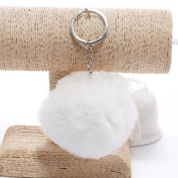 fur plates wholesale NZ - key chain Fur ball Keychain Pompom Artificial Rabbit Fur Animal Keychains For Woman Car Bag Key Ring 14 colors
