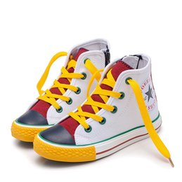 $enCountryForm.capitalKeyWord UK - Boys Girls Colorful Patchwor Canvas Side Zipper Lace Up High-Top Fashion Sneakers Kids Board Shoes Casual Running Sneakers