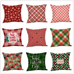 plain beds 2019 - Merry Christmas Christmas Plaid Throw Pillow Case Snowflake Christmas Tree Bedding Decor Linen Pillow Cushion Covers Hom