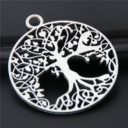 cheap accessories charms NZ - Cheap Charms 10pcs Silver Color Large Howllow Round Tree Charms Nature Pendant Finding Diy Jewelry Accessories Crafts 40x35mm A3077