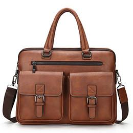 $enCountryForm.capitalKeyWord NZ - New Men Split Leather Handbag Zipper Men Business Polyester Two Silt Pocket Soft Handle 14 Inches Briefcases Bags