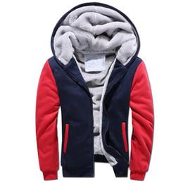 Sports Cardigans For Men Australia - Mens Color Block Hoodies Winter Plus Velvet Thick Warm Sweater for Men Hooded Cardigan Zipper Coat Fashion Sport Loose Patchwork Outwear