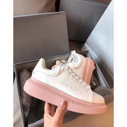 thick sole sneakers NZ - Pink Thick soled sneakers Leather Beautiful Girl Muffin soled Shoes 4cm Thick soled Lace Fashion Leisure Shoes