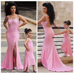 Discount best gold mermaid prom dresses - 2019 Bling Bling Mermaid Sequins Slim Prom Dresses Split Beaded Crystal Best Matching Mother And Daughter Flower Girl Dr