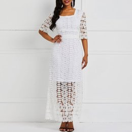 $enCountryForm.capitalKeyWord Australia - Sexy Lace Party Long Dress Elegant Evening Women White Robe Hook Flower See Through Summer High Waist Slim Female Maxi Dresses