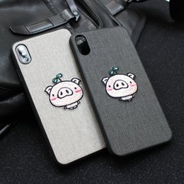 embroidered cloth NZ - For Iphone Xs Max X Xr Phone Case Embroidered Pig Imitation Cloth For Apple 7 8 6 Plus TPU Soft Cell Phone Cases