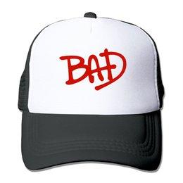 Мужчины Женщины Майкл Джексон Bad Circle Logo Кепка дальнобойщика Кепка для бега Лето Крутая бейсбольная сетка Шапки дальнобойщика Спортивная шапка Для взрослых на Распродаже