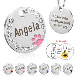 personalized cat collars 2019 - Dog Tag Personalized Pet Puppy Cat ID Tag Engraved Custom Dog Collar Accessories Stainless Steel Name For Dogs Cats Pink