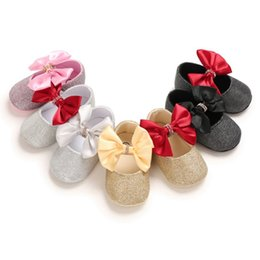 little stars baby wholesale Australia - Newborn Baby Girl Flower Sneakers Toddler Cotton Bow Casual Shoes Infant Little Girls Princess Sequin Stars Leather Shoes 0-18Ms
