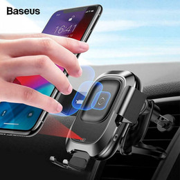 iphone 5s car charger holder 2019 - Baseus Qi Car Wireless Charger For iPhone Xs Max Xr X Samsung S10 S9 Intelligent Infrared Fast Wirless Charging Car Phon
