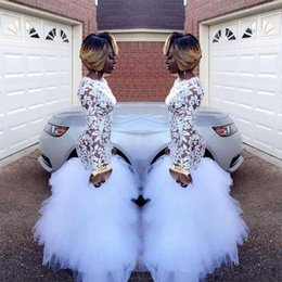 $enCountryForm.capitalKeyWord Australia - African White Prom Dresses Jewel Neck Long Sleeves Lace Applique Mermaid Tiered Puffy Tulle Floor Length Black Girl Evening Party Gowns