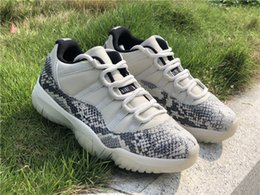Mesh Fiber Australia - 2019 Authentic 11 Retro Low SE Snakeskin White 11S Man Basketball Shoes Real Carbon Fiber Sports Sneakers CD6846-002