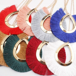 Necklaces Pendants Australia - Hot Big Pendant Necklace Women Jewelry Bohemia Statement Long Yellow Tassel Metal Necklaces Costume Jewelery Accessories