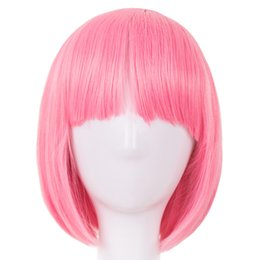 Hair Extensions & Wigs Cosplay Wig Fei-show Synthetic Heat Resistant Fiber Wavy Sky Blue Inclined Bangs Hair Student Hairpiece Short Salon Party Peruca