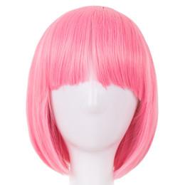 $enCountryForm.capitalKeyWord UK - Pink Wig Fei-Show Synthetic Heat Resistant Short Wavy Hair Peruca Pelucas Costume Cartoon Role Cos-play Bob Student Hairpiece