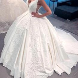 $enCountryForm.capitalKeyWord Australia - Ball Gown Wedding Dresses With Sheer V neck Appliques Beads Satin Sexy Backless Wedding Gowns Sweep Train Bridal Dress Formal Vestidos