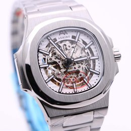 sapphire crystals NZ - New Arrival AEHIBO Transparent Automatic Movement 42MM Skeleton White Dial Sapphire Crystal Mens Watches Watch Stainless Steel Wristwatches