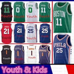 060ea0371 11 Kyrie Irving Youth Kids 0 Jayson Tatum Boston Jersey Celtics 25 Ben  Simmons 21 Joel Embiid Philadelphia Phoenix 76ers Suns 1 Devin Booker