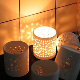 $enCountryForm.capitalKeyWord Australia - Unglazed Ware Porcelain Tea Light Candle holder Ceramic Candle Jars Candle Stick Stand Lantern Decorative Wedding Centerpieces ZJ0178