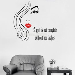 $enCountryForm.capitalKeyWord UK - Pretty Eyelashes Decal And Text Wall Sticker A girl not complete Creative Home Wall Decor Sexy Lips Mural Girl Room Decals