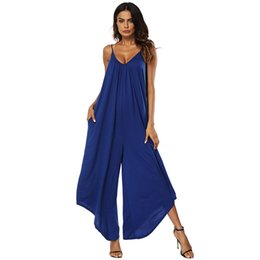 China Sexy Women Slip Jumpsuit Spaghetti Strap Ruched Wide Leg Pants Pocket Casual Solid Plus Size 3XL Femme Playsuit Rompers supplier sexy leg straps suppliers