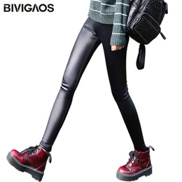 faux leggings Australia - Bivigaos Ladies Winter Warm Thick Velvet Faux Leather Leggings Gothic Legging Pants Punk Rock Slim Skinny Pencil Pants For Women T190825