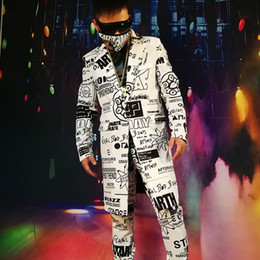 Discount custom graffiti - Custom Made Men Casual Blazer Jacket Fashion Graffiti Hip Hop Long Suit Coat Male Party Stage Singer Dancer DJ Costume