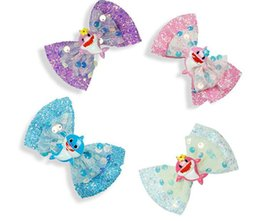 $enCountryForm.capitalKeyWord Australia - Baby Shark Sequin Glitter Hair Bow Hair Clip Girl Handmade Hair Accessories Kids Birthday Party Gift 10pcs