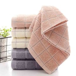 wholesale cheap bath towels UK - Factory First Cheap Price Wholesale 72cm Large Size Cotton Towel Soft Rectangle Grid Bath Face Towels Absorbent Breathable Towel Ship By DHL