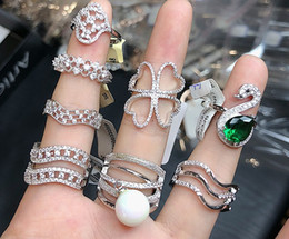 Zircon Rings Prices Australia - wholesale 10pcs lots low price high quality 925 silver diamond crystal zircon lady's ring random mix size*style 3.9rtrt