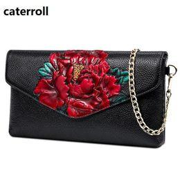 Luxury Chains Australia - Luxury Handbags Women Bags Designer Shoulder Bag Floral Print Genuine Leather Chain Bag Female Real Leather Handbag