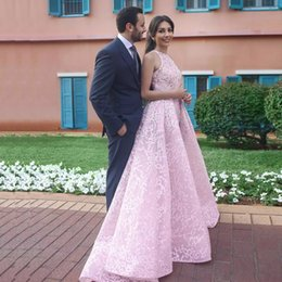 $enCountryForm.capitalKeyWord Australia - Pink A-line with Overskirt Prom Dresses Jewel Neck Full Lace Ball Gown Prom Gown Sweep Train Abric Dubai Celebrity Dress
