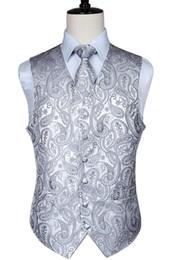 $enCountryForm.capitalKeyWord UK - Men's Classic Paisley Jacquard Waistcoat Vest Handkerchief Party Wedding Tie Vest Suit Pocket Square Set J190430