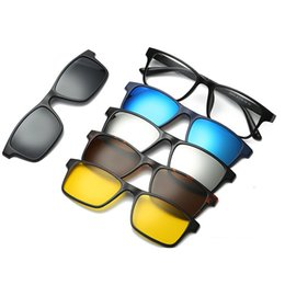Magnetic clips sunglasses online shopping - 6 in sunglasses clip on sunglasses frame myopia eyeglasses glasses tr90 frame for women men magnetic lens in