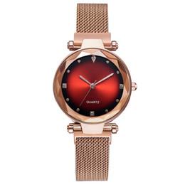 e46757573f9d Cristalino de la moda Relojes de Las Mujeres de Oro Rosa Mujer Cielo Estrellado  Dial Cuarzo Reloj de pulsera Montre Femme 2019 Rhinestone Reloj de Señoras  ...