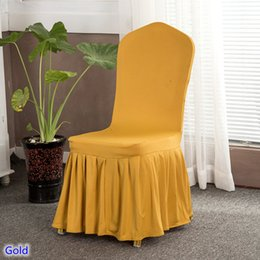wholesale wedding chair cover spandex NZ - Gold Colour skirted chair covers spandex lycra universal ruffled chair covers wedding hotel banquet decoration ruched thick