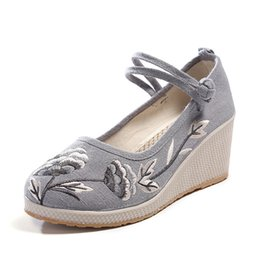 58472916932f Platform Embroidery UK - Women s Embroidery Floral Strappy Platform Wedges  Chinese Cotton Cloth Shoes Mary Jane
