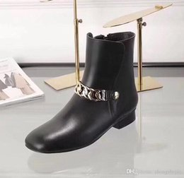 Boot Heel Chains Australia - 2018 black ladies patent leather chain with short heel side zipper boots Roman fashion flat boots size 35-40