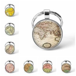 map keychain Australia - 2019 Newest Metal Keychain Handmade Vintage Roma World Map Earth Geography Key Chain Glass Dome Keychains for Men Women Gift