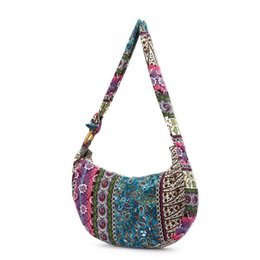 71bd08d7c51e Women Elegant Ethnic Sling Shoulder Bag Canvas Crossbody Messenger Hand Bags  Floral Print For Female Lady Vintage Casual Handbag