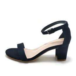 22b49e9c0 Women Sandals Summer Open Toe Women's Sandals Low Block Heel 8cm Women  Shoes Black Blue Gladiator Shoes Ankle Strappy